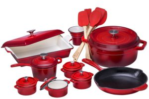 Bruntmor 21 Piece Enameled Cast Iron Cookware Set