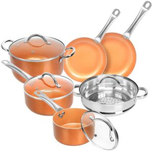 Copper Non-stick 10-piece Cookware Set – Multi-purpose Round Aluminum Pan with Stainless Steel Handles – Suitable for Induction Cookers