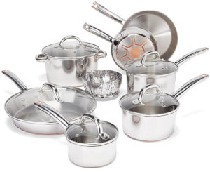 T-fal Stainless Steel with Copper Bottom Cookware Set, Pots and Pans Set, 13 Piece , Silver