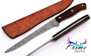 Custom Handmade Damascus Steel Fillet Knife With Beautiful Rose Wood Handle