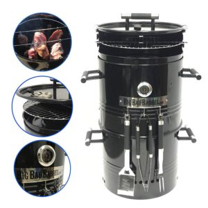EasyGO EGP-FIRE-017 Big Bad Barrel Charcoal Barbeque 5 in 1 Can be Used as a Smoker Grill BBQ