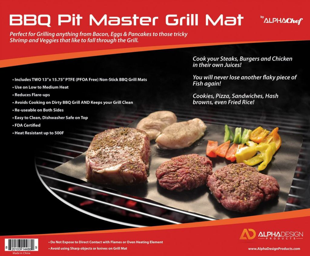 Alpha Chef Grill Mats by, Set of 2 Non-stick BBQ Grilling Sheets, 15.75 x 13 Inches