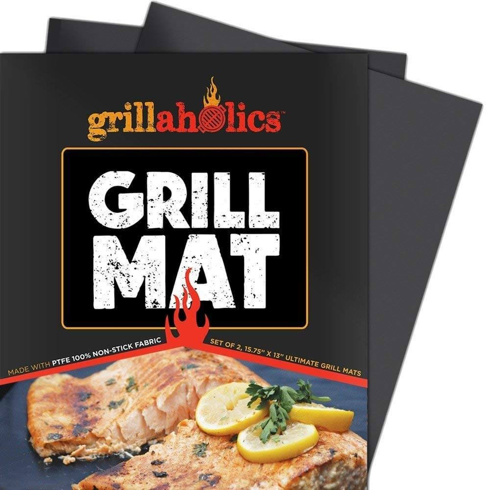 Grillaholics Grill Mat - Set of 2 Heavy Duty BBQ Grill Mats - Non Stick, Reusable, and Easy to Clean Barbecue Grilling Accessories