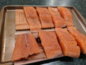 salmon on cedar planks