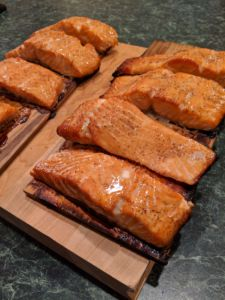 cooked salmon on cedar planks
