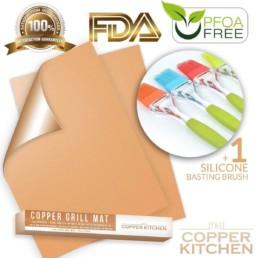 The Copper Kitchen Copper Grill Mat Set of 2 + Basting Brush