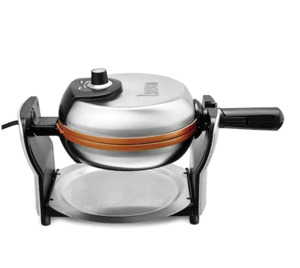 Copper Titanium Ceramic Nonstick Rotating Belgian Waffle Maker