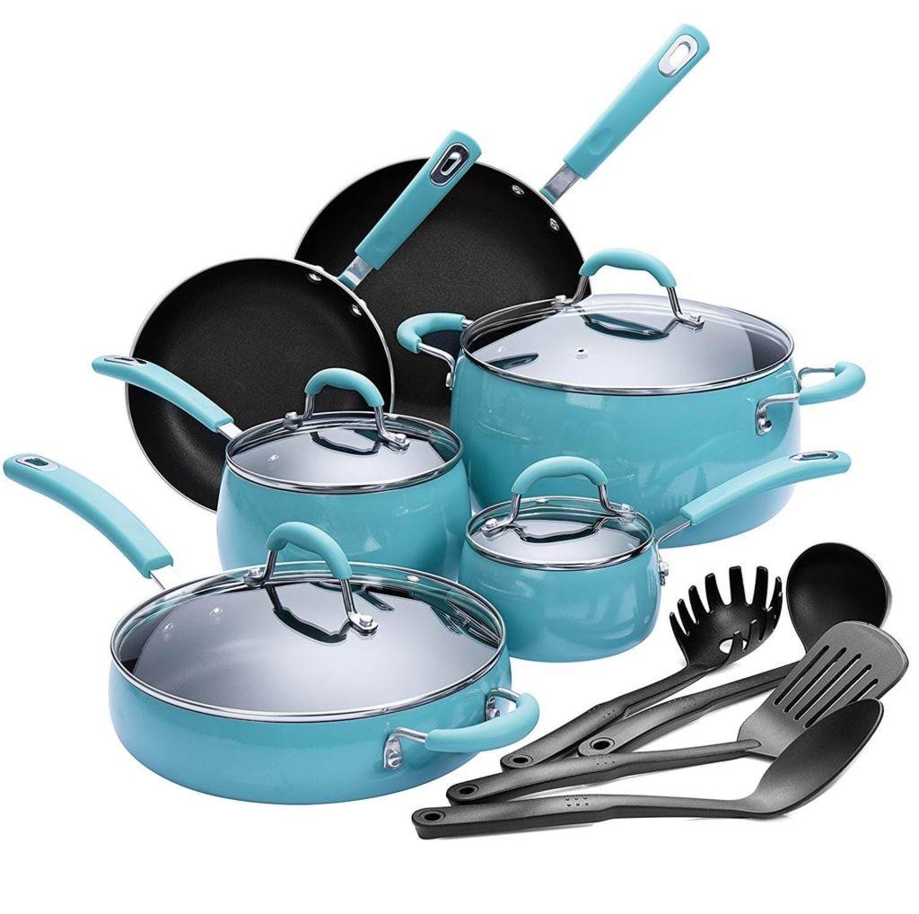 Finnhomy Hard Porcelain Enamel Aluminum Cookware Set, Ceramic Cookware Set