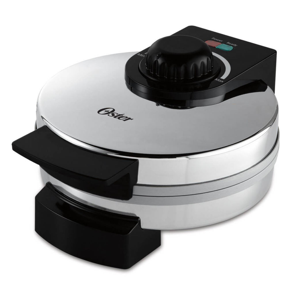Oster Titanium Infused DuraCeramic Belgian Waffle Maker, Chrome