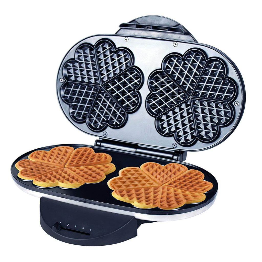ZZ Heart Waffle Maker with Non-Stick Plate
