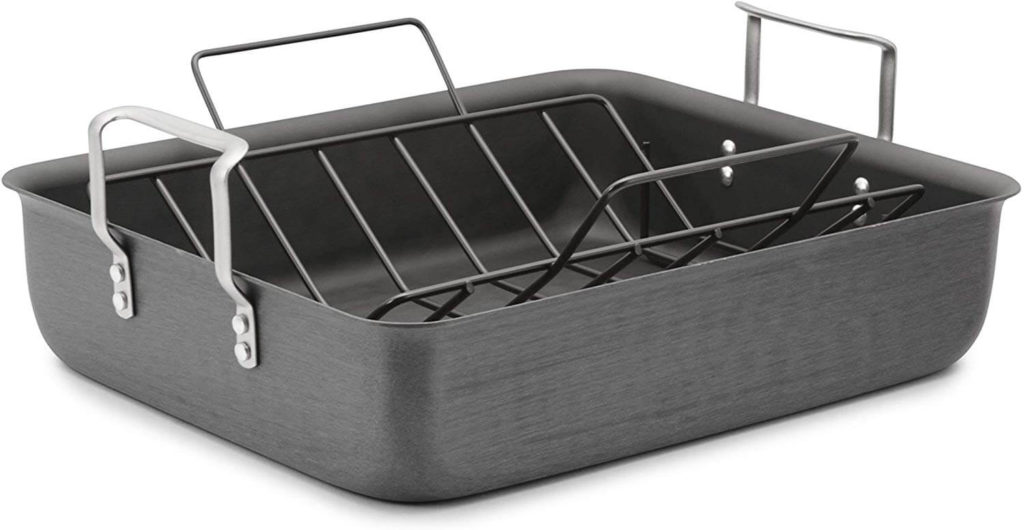 Calphalon Classic Hard Anodized 16 Inch Roasting Pan with Nonstick Rack