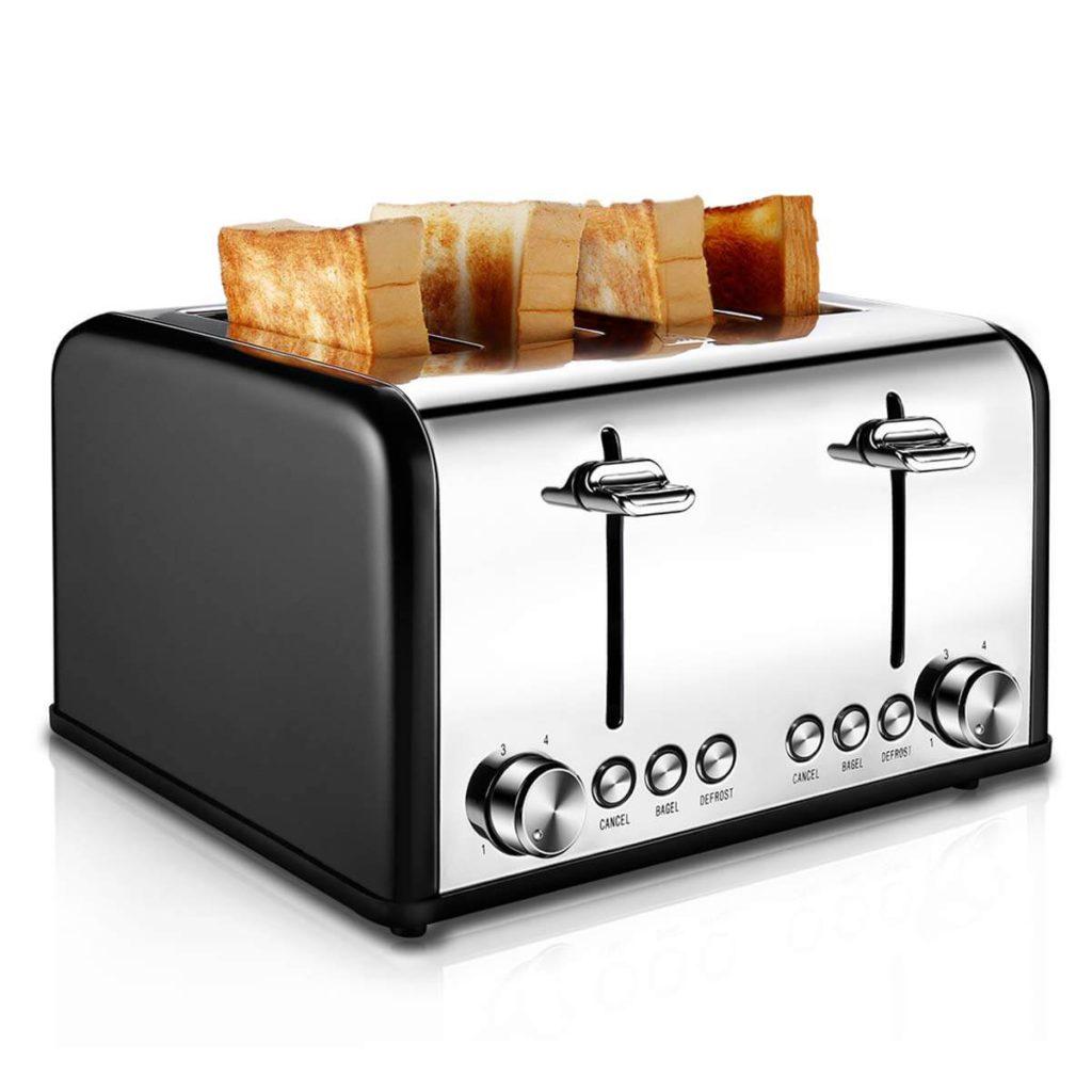 Toaster 4 Slice, CUSIBOX Stainless Steel Toaster