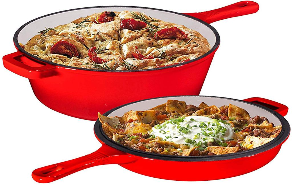 Bruntmor Heavy Duty 3 Quart Skillet and Lid Set