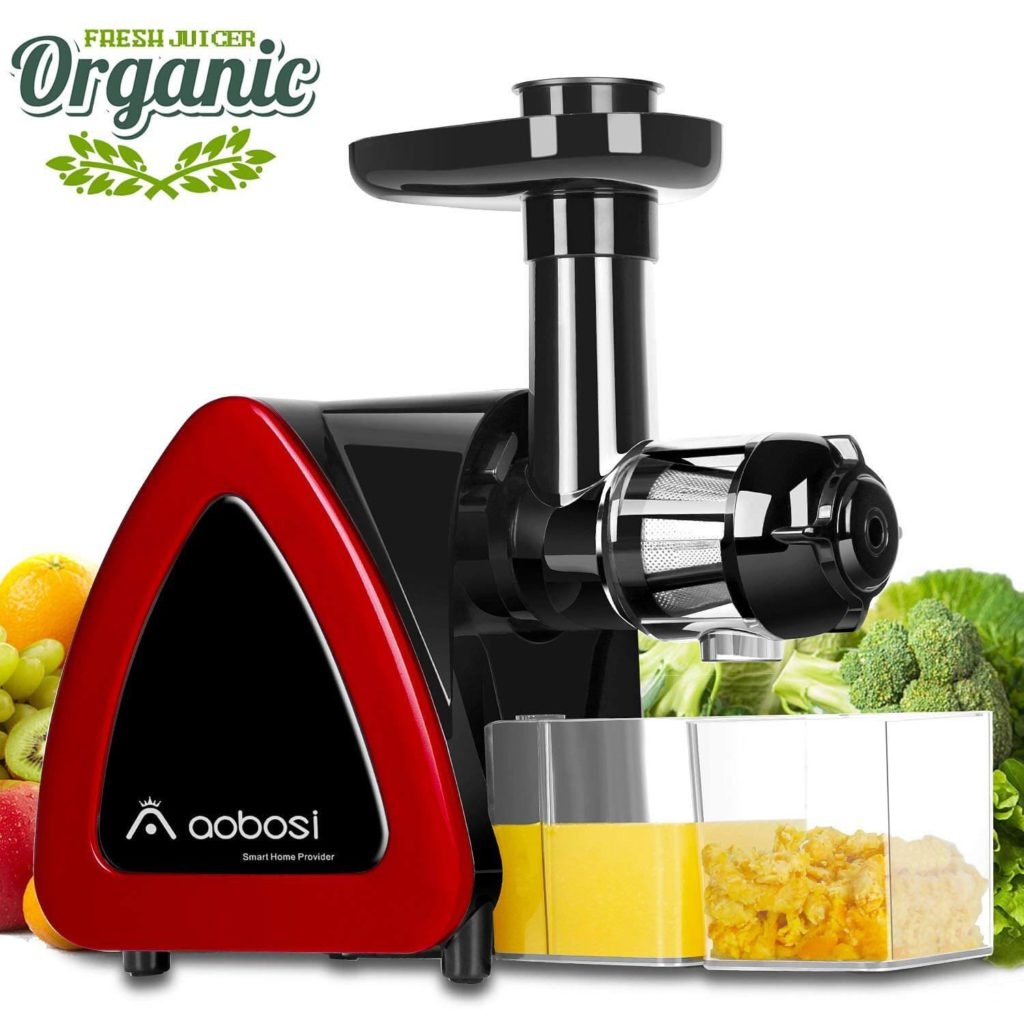 Aobosi Slow Masticating juicer Extractor, Cold Press Juicer Machine Quiet Motor Reverse Function, High Nutrient Fruit and Vegetable Juice with Juice Jug