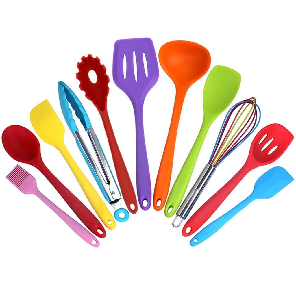 Kitchen Utensil Set 11 Cooking Utensils Colorful Silicone Kitchen Utensils Nonstick Cookware with Spatula Set