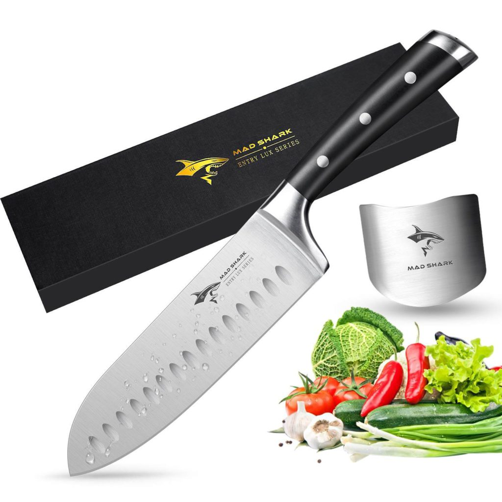 Santoku Knife - MAD SHARK Pro Kitchen Knives 7 Inch Chef Knife Best Quality German High Carbon Stainless Steel Knife with Ergonomic Handle Ultra Sharp
