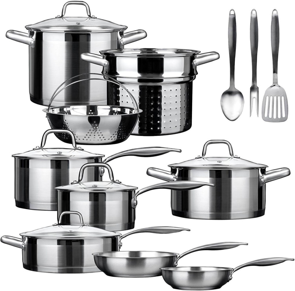 Duxtop SSIB 17 Professional 17 Pieces Stainless Steel Induction Cookware Set