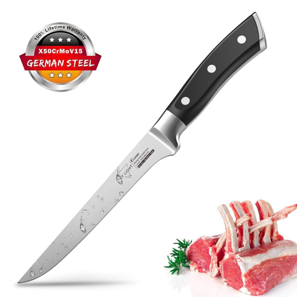 Boning Knife Flexible Fillet Knives 6 inch for Meat Fish Poultry Chicken Professional Kitchen Knife High Carbon German Stainless Steel Chef Bone Knife