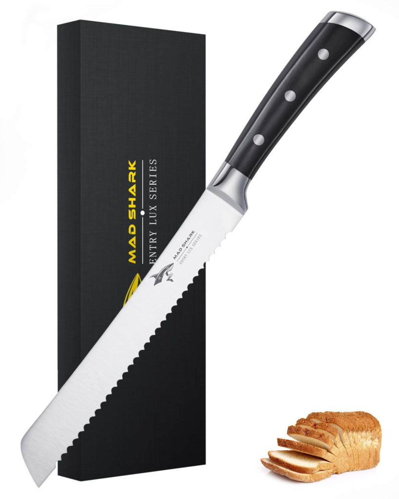Bread Kinfe MAD SHARK 8 Inch Pro Serrated Bread Cutter German High Carbon Stainless Steel Cake Knife with Ergonomic Handle