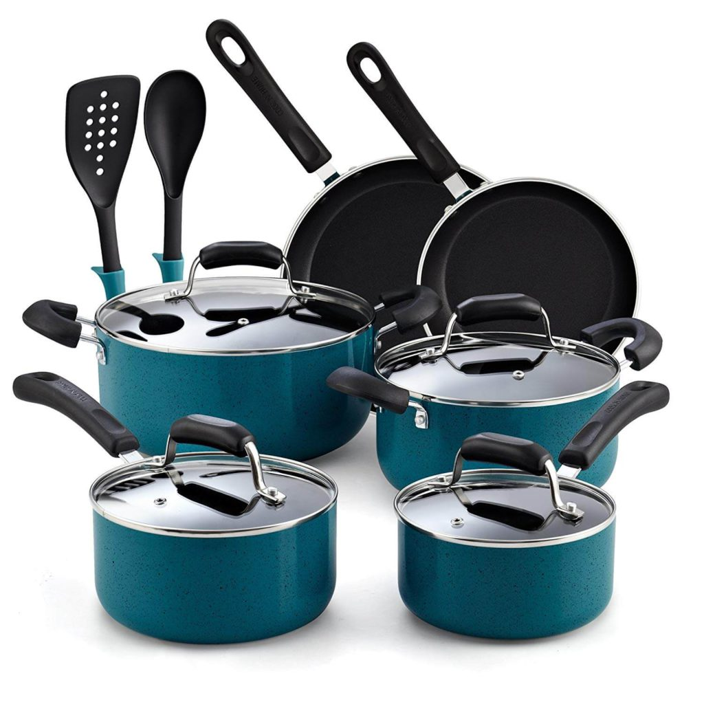 Cook N Home 02588 12 Piece Stay Cool Handle, Turquoise Nonstick Cookware Set