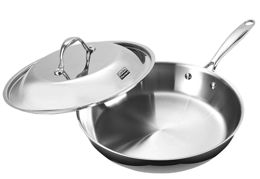 Cooks Standard NC 00239 Stainless Steel Dome Lid 12 Inch Multi Ply Clad Fry Pan, Silver
