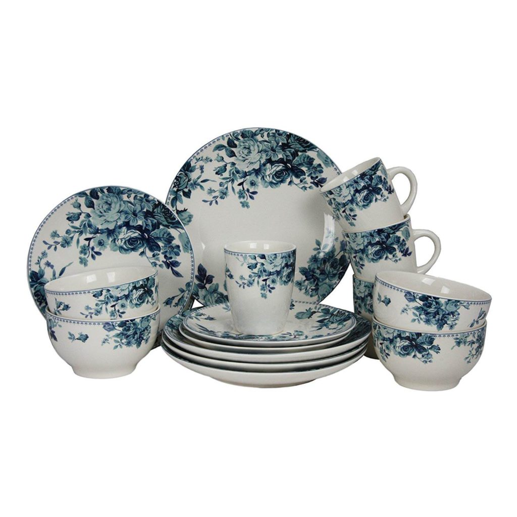Elama 16 Piece Traditional Rose Dinnerware Set