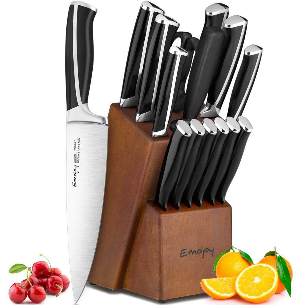 Emojoy Knife Set 15 Piece Kitchen Knife Set with Block ABS Handle for Chef Knife Set
