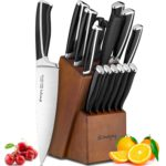 Emojoy Knife Set 15 Piece Kitchen Knife Set with Block ABS Handle for Chef Knife Set