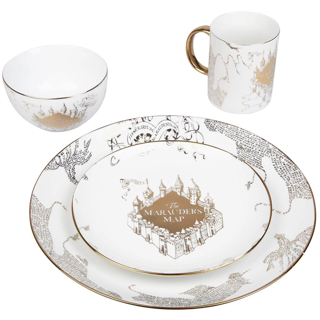 Harry Potter Marauders Map Porcelain 4 Piece Place Setting