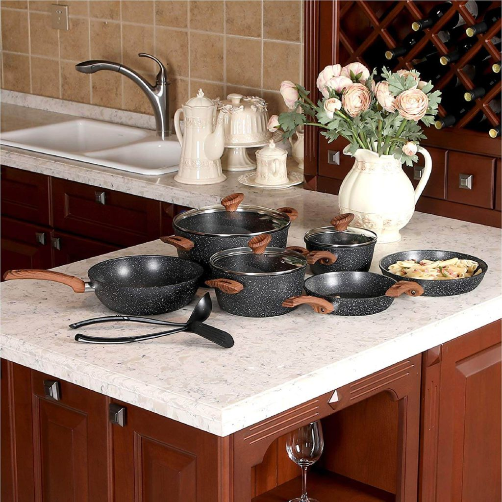 Kitchen Academy 12 Piece Nonstick Granite-Coated Cookware Set Suitable for All Stove