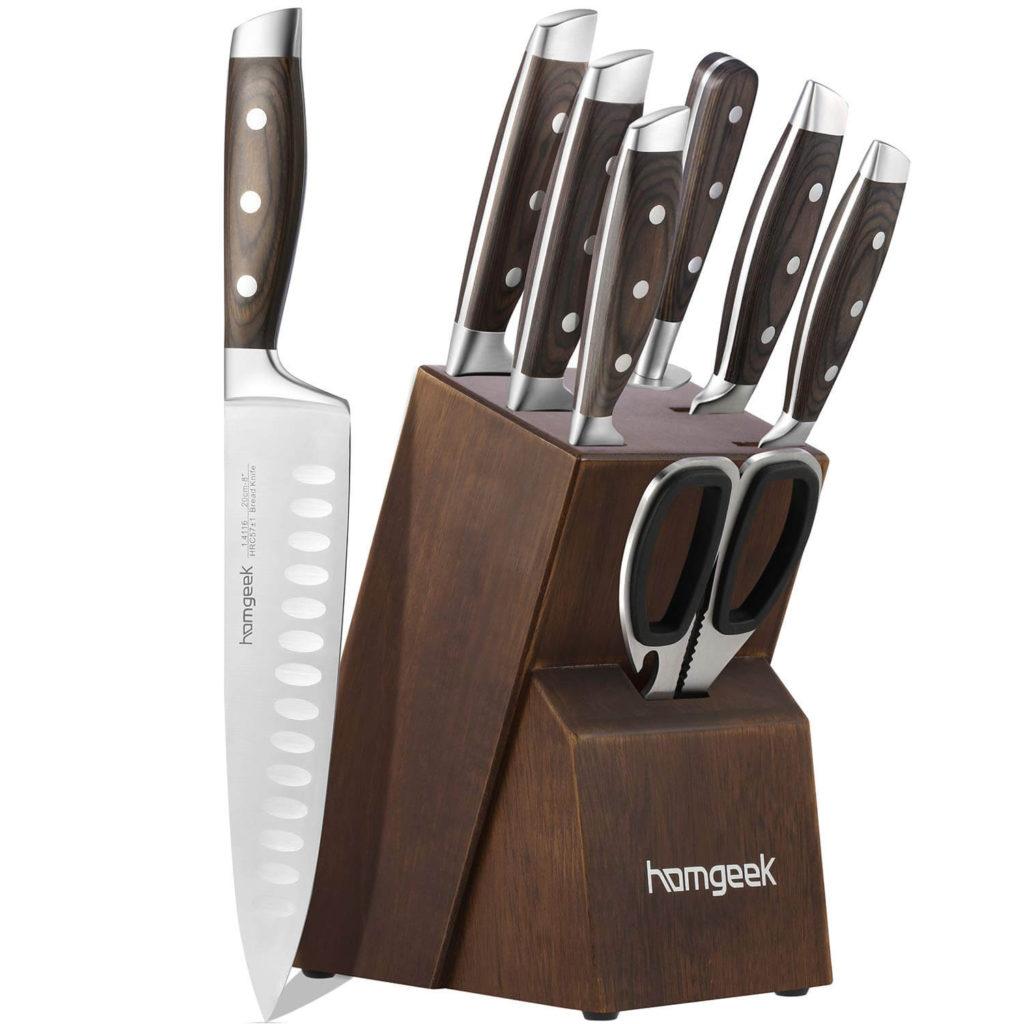 Kitchen Knife Set 8 Piece with Oak Wooden Block Sharpener and Pakkawood Handle