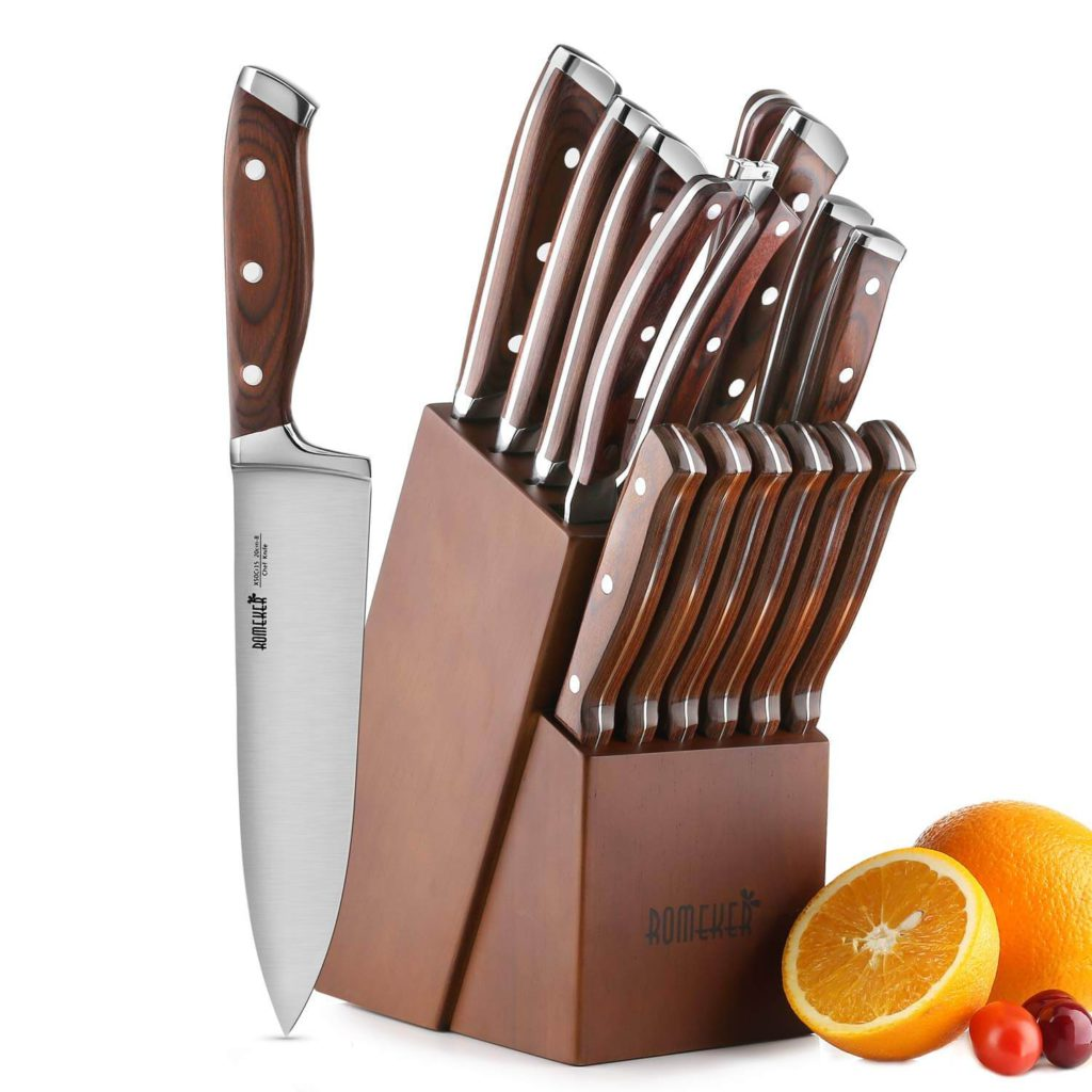 Knife Set 15 Piece Kitchen Knife Set with Block Wooden