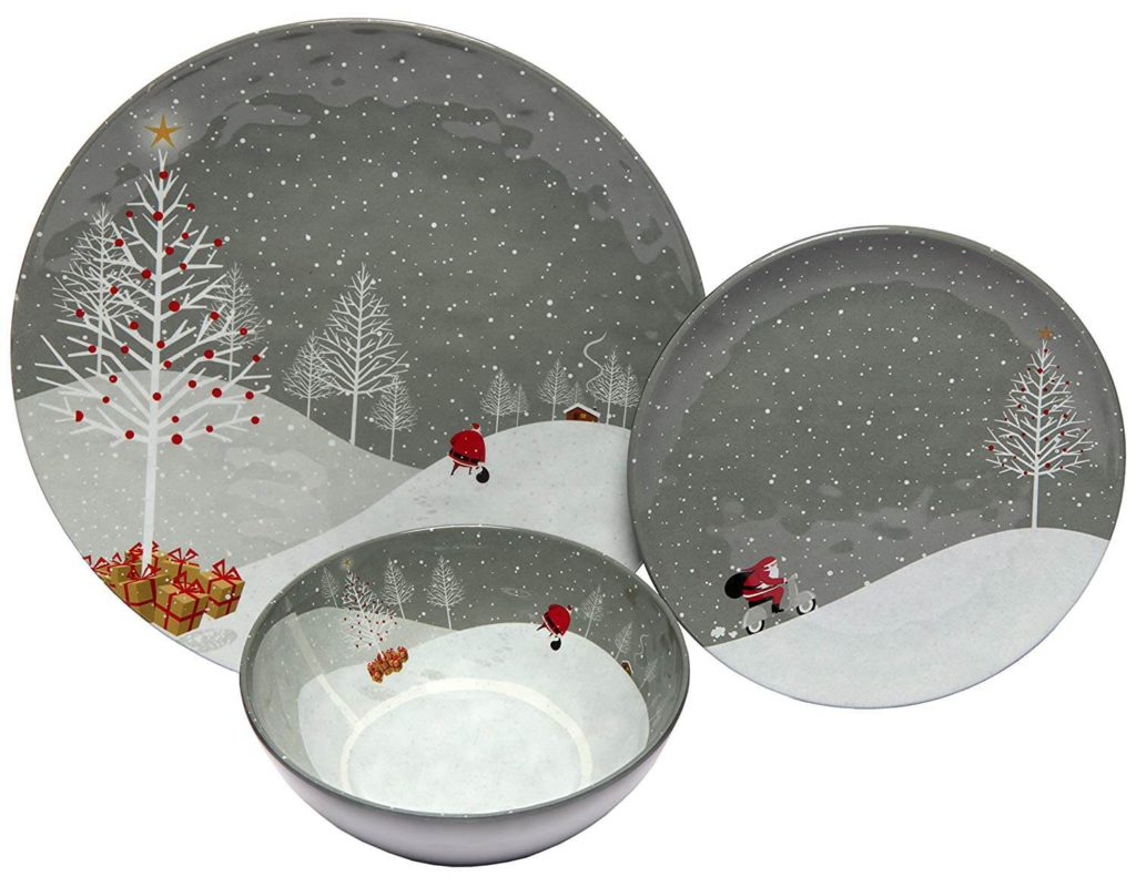 Melange 12 Piece Melamine Dinnerware Set (Santa Comes Home