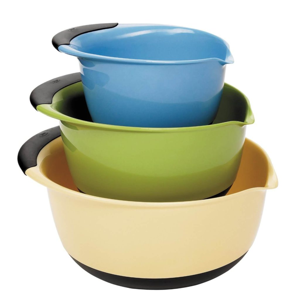 OXO Good Grips 3 piece Mixing Bowl Set, White Bowls with Blue Green Brown Handles