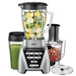 Oster Blender Pro 1200 with Glass Jar 24Ounce Smoothie Cup and Food Processor Attachment Brushed Nickel