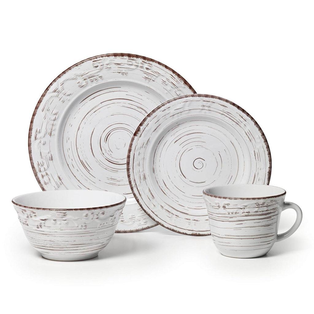 Pfaltzgraff Trellis White 16 Piece Stoneware Dinnerware Set