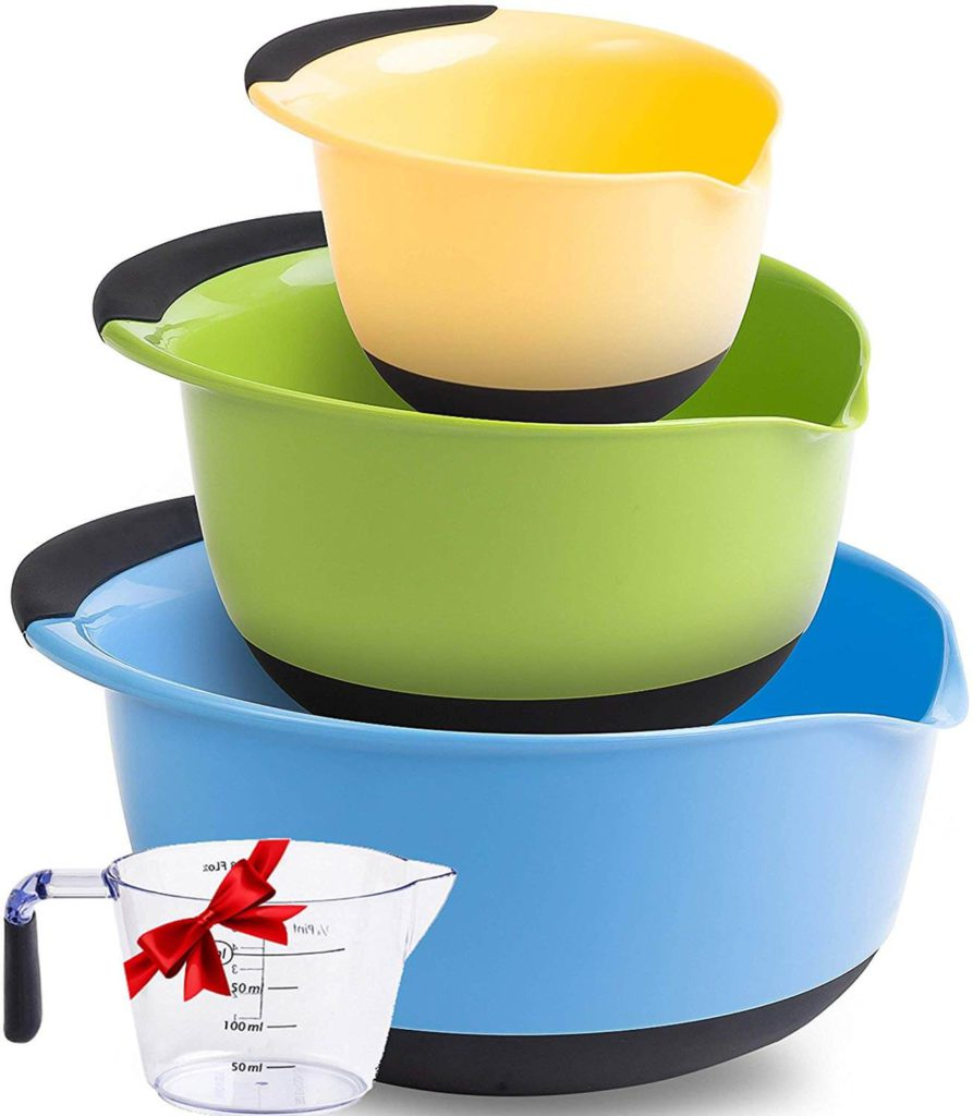 Premium Plastic Mixing Bowls With Non Slip Bottom & Pouring Spout. For Healthy Cooking & Baking Nesting and Stackable Free Bonus