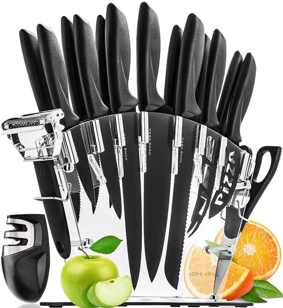 Stainless Steel Knife Set with Block 13 Kitchen Knives Set Chef Knife Set with Knife Sharpener