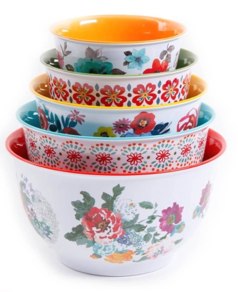 The Pioneer Woman 10 Piece Nesting Mixing Serving Bowl Set features Unique Vibrant Colors