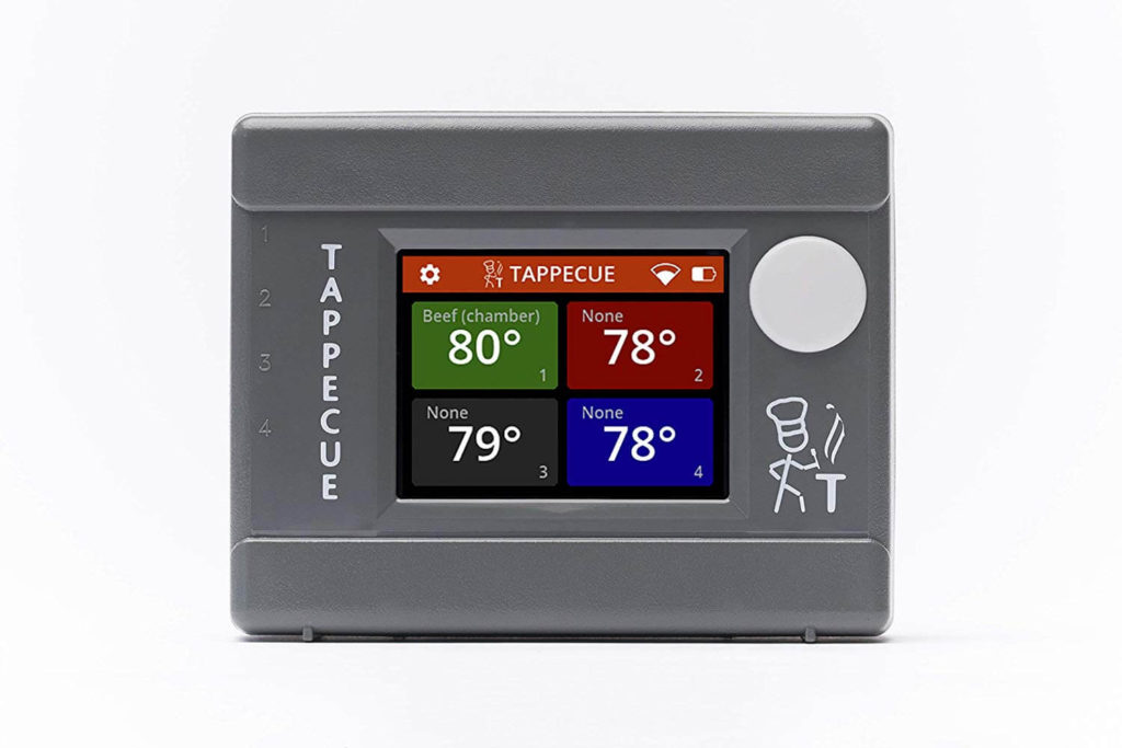 Tappecue True WiFi Meat Thermometer for Smokers with Smart Touchscreen Display Includes 4 Color Coded Probes and iOS and Android Apps
